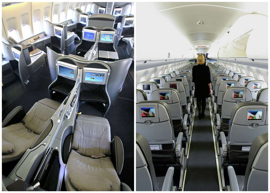 """This combination of Associated Press file photos show, on the left, a first class interior section of a United Airlines 747 plane at San Francisco International Airport in San Francisco in 2011, and on the right, the coach interior section of  a JetBlue E190 plane at  Seatac International Airport in Seattle, in 2008.  Henry Harteveldt, an airline analyst with Hudson Crossing says """"First class has become a way for a traveler to have an almost private jet-like experience."""" (AP Photo/File) Photo: STF / AP"""