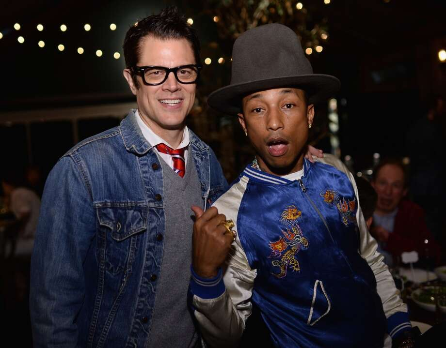 "Johnny Knoxville and Pharrell Williams attend Bionic Yarn, G-Star and Hennessy Privilege Celebrate Pharrell Williams and his Oscar nominated single, ""Happy"" on February 27, 2014 in Los Angeles, California. Photo: Dimitrios Kambouris, Getty Images For One View"