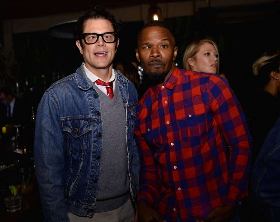"Johnny Knoxville and Jamie Foxx attend Bionic Yarn, G-Star and Hennessy Privilege Celebrate Pharrell Williams and his Oscar nominated single, ""Happy"" on February 27, 2014 in Los Angeles, California. Photo: Dimitrios Kambouris, Getty Images For One View"