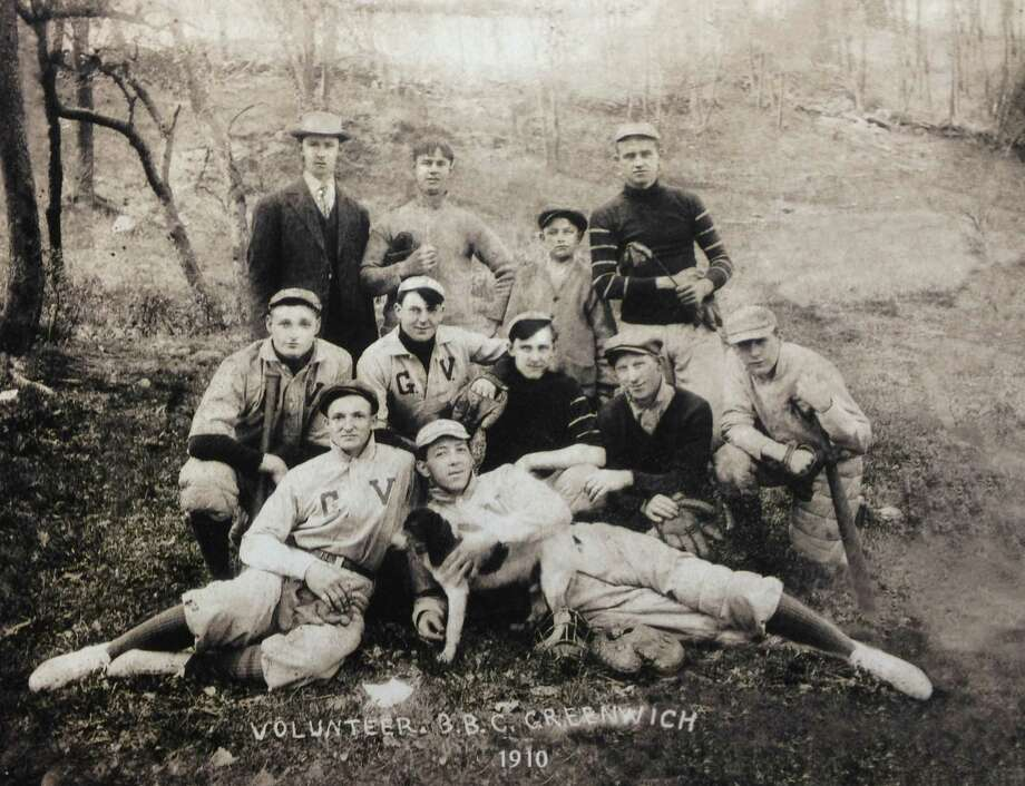 "In honor of the start of spring training, we thought we would take you back in time with this wonderful photograph (courtesy of a reader) of  the  ""Volunteer Baseball Club Greenwich"" - from 1910. Pictured here are: top row, Ed Barrett, Walt Fogg, Frank McAndrews and John Hogan; middle row, Ricky Deck, Johnny Connors, Jack Smith, Andy Fox and John Cullen; and front row, Everett Dickerson and Frank Evans. Know anything about the team? The players? Where the picture might have been taken? Have any great old photos from your archive that you'd like to share? Contact me at bbind@scni.com. Photo: Contributed Photo / Greenwich Citizen"