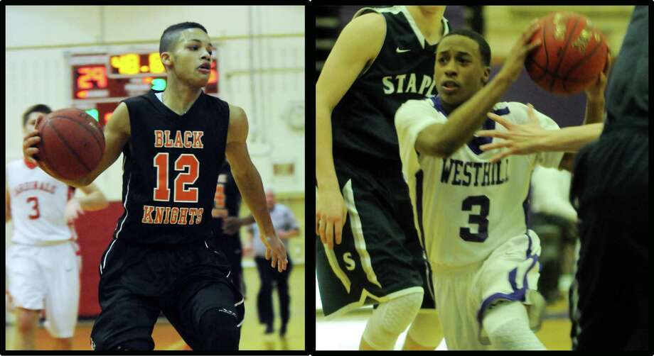 Stamford High's Gianni Carwin, left, and Westhill's CJ Donaldson will be key to their team's hopes in Saturday's FCIAC quarterfinal clash between the city rivals. Photo: File Photo / Stamford Advocate File Photo