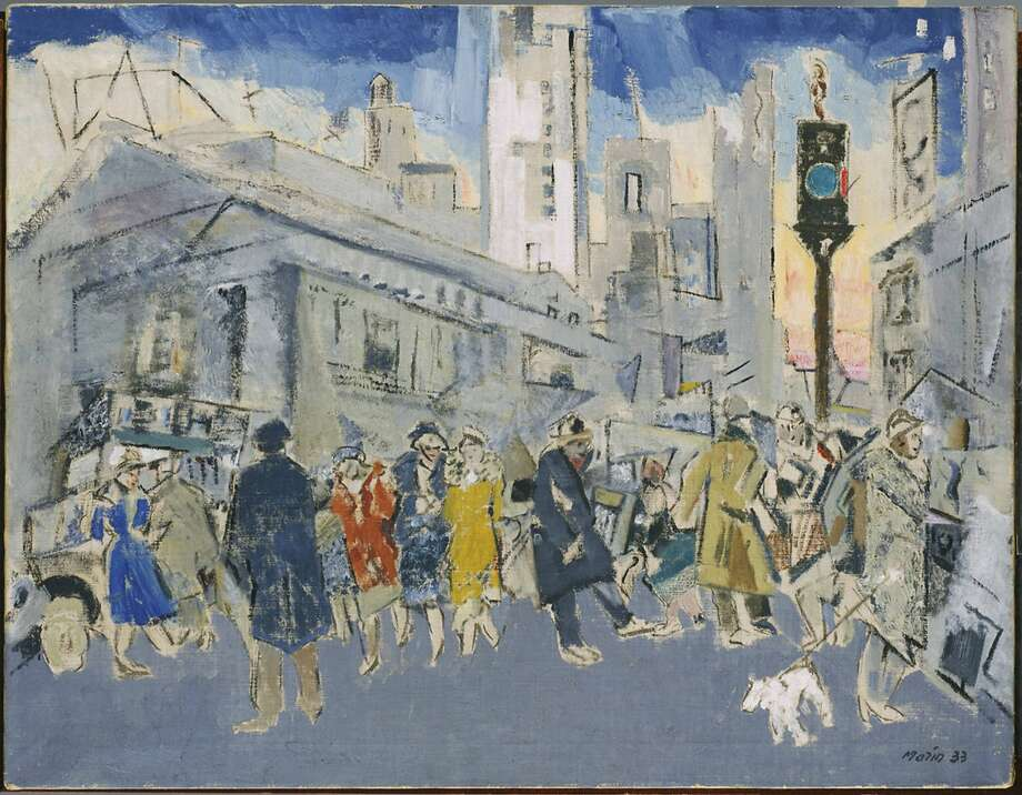 "John Marin's 1933 oil on canvas, ""Pertaining to Fifth Avenue and Forty-Second Street,"" is  in the exhibition of American art taking over most of the Phillips Collection for the next six months. Photo: Associated Press"