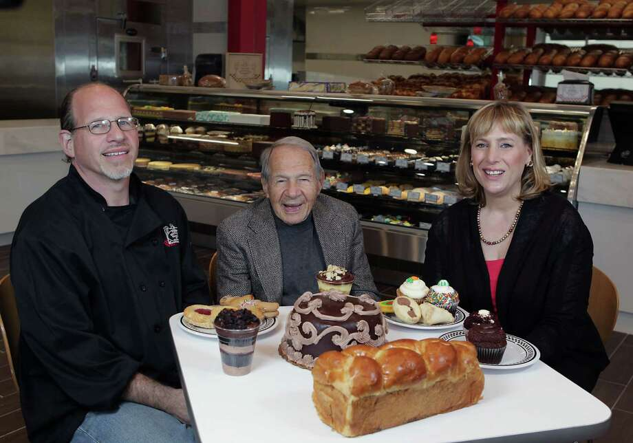 Sigmund Jucker, center, helped found Three Brothers Bakery, now run by Bobby Jucker left, and his wife, Janice Jucker. Photo: James Nielsen, Staff / © 2013  Houston Chronicle