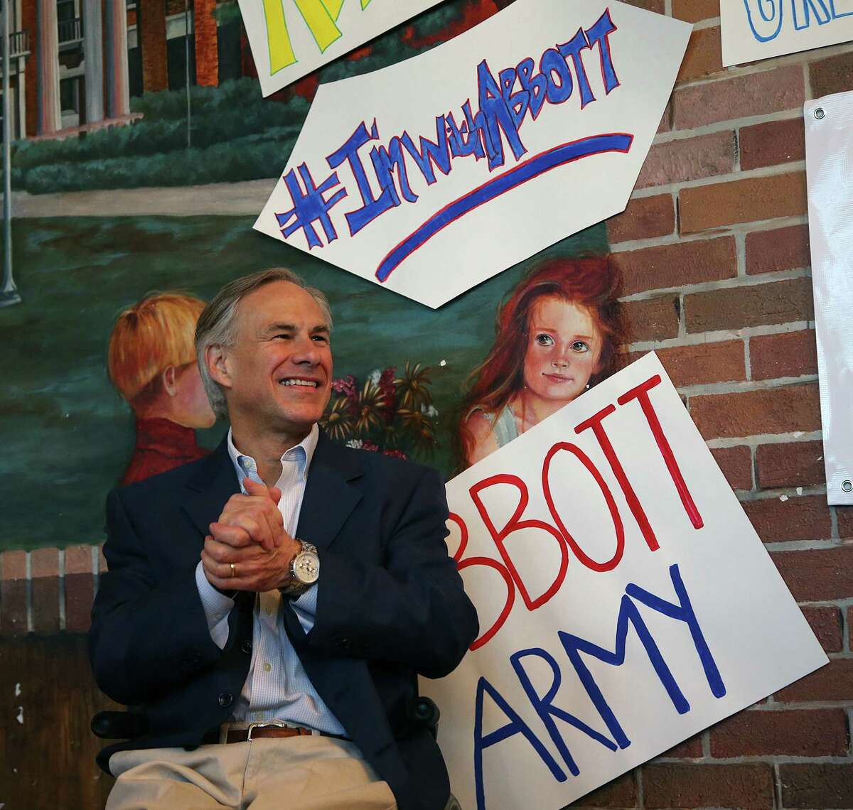 Texas Attorney General Greg Abbott and Republican candidate for governor, is introduced to supporters at a local restaurant Friday, Feb. 28, 2014, in Waco, Texas. (AP Photo/Waco Tribune Herald, Rod Aydelotte)