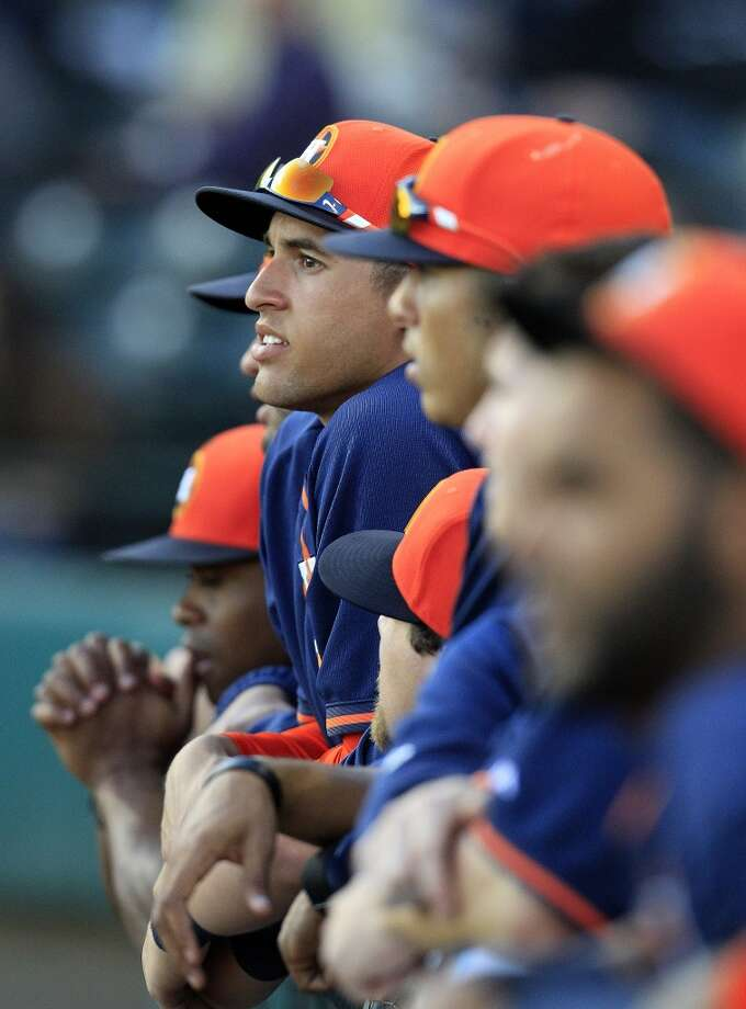 Feb. 28: Astros 7, Braves 5  Houston Astros George Springer (79) looks out of the dugout during a spring training game between Houston and Atlanta at Champion Stadium, in Kissimmee, home of the Braves' spring training. (Karen Warren/Houston Chronicle) Photo: Karen Warren, Houston Chronicle