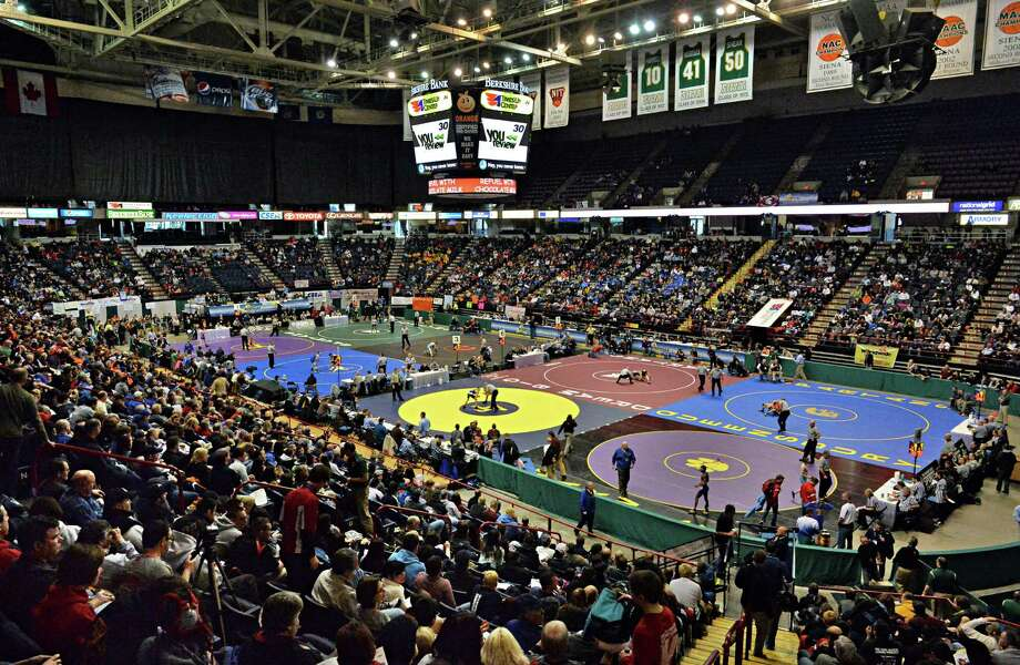 The State high school wrestling tournament gets under way at the Times Union Center Friday morning, Feb. 28, 2014, at the Times Union Center in Albany, N.Y.  (John Carl D'Annibale / Times Union) Photo: John Carl D'Annibale / 00025917A