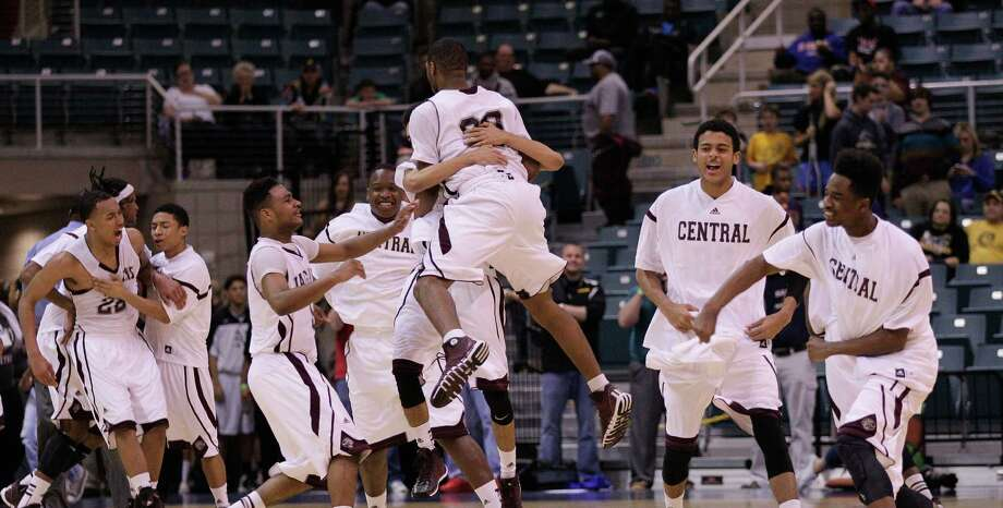 Beaumont Central 46, Friendswood 45Beaumont Central celebrates their win over Friendswood during action from a Class 4A Region III boys basketball semifinal game Friday, Feb. 28, 2014 at the Merrill Center. Beaumont Central won 46-45. Photo: Bob Levey / ©2014 Bob Levey
