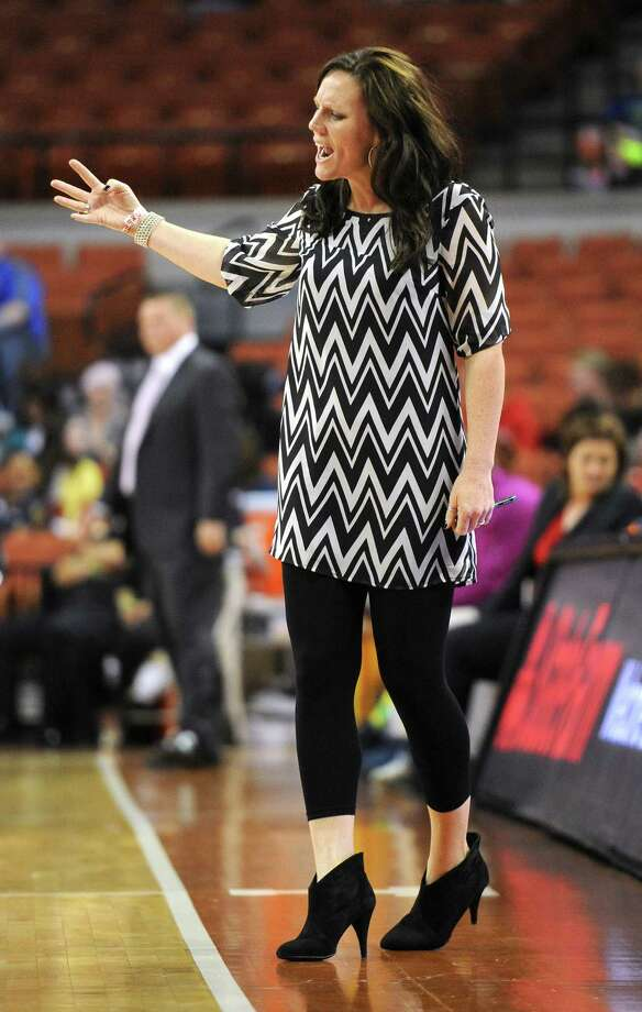 Plano West head coach Kristen Perry during the UIL 5A state semifinal girls basketball game between Manvel and Plano West high schools on Fri., Feb. 28, 2014 at the Frank Erwin Center in Austin, TX. Photo: Ashley Landis, Special Contributor / ©Ashley Landis