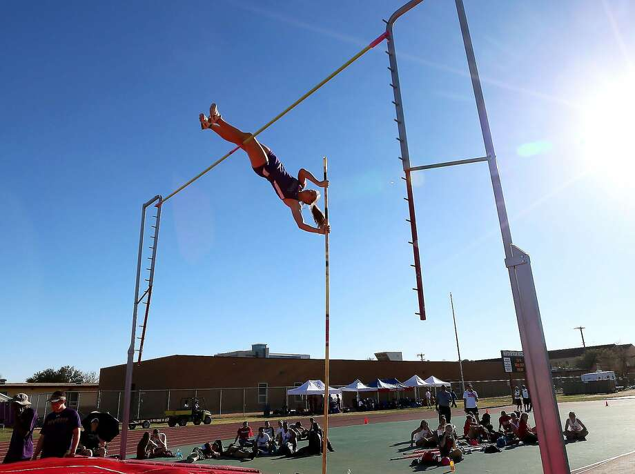El Paso Franklin's Elise Machen clears 13 feet, 6 inches in the pole vault during the Tall City Invitational on Friday, Feb. 28, 2014, in Midland, Texas. The jump is Machen's personal record and a new meet record at the Tall City Invitational. (AP Photo/Odessa American, Edyta Blaszczyk) Photo: Edyta Blaszczyk, Associated Press