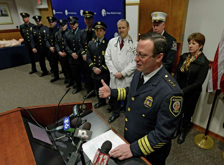 Albany Police Chief Steven Krokoff announces the new Law Enforcement Survival Kit (LESK)  Thursday morning, Feb. 27, 2014, at Albany Medical Center in Albany, N.Y. The LESK  is given to police officers for use in shooting or stabbing incidents to stop bleeding until EMS arrives at the scene.   (Skip Dickstein / Times Union) Photo: SKIP DICKSTEIN / 00025928A