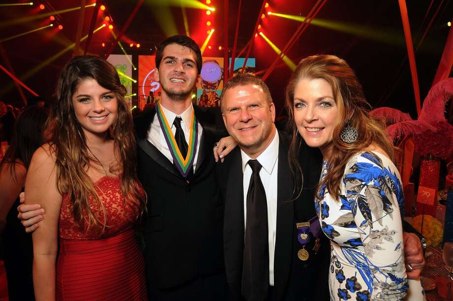 From left: Blayne Fertitta, Michael Fertitta, Tilman and Paige Fertitta at the 18th Annual San Luis Salute at the Galveston Island Convention Center Friday Feb 28, 2014.(Dave Rossman photo) Photo: Dave Rossman, For The Houston Chronicle