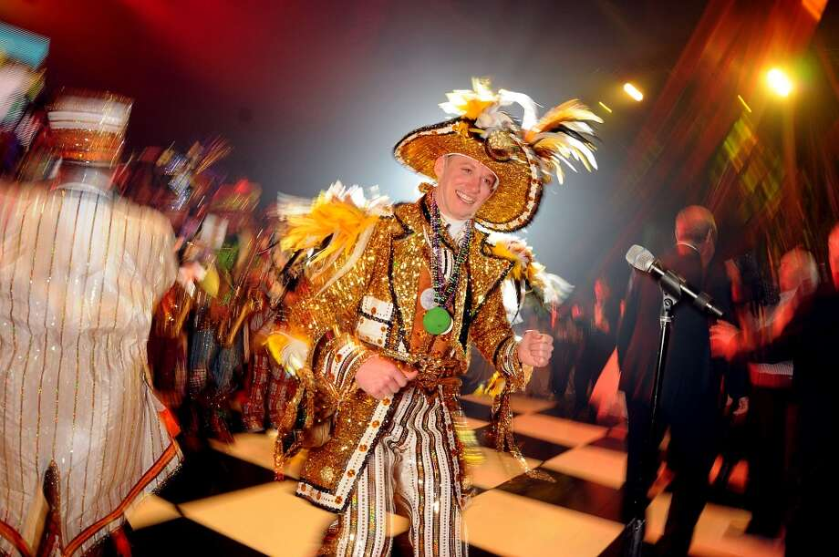 Captain Jimmy Good leads the Philadelphia Mummers at the 18th Annual San Luis Salute at the Galveston Island Convention Center Friday Feb 28, 2014.(Dave Rossman photo) Photo: Dave Rossman, For The Houston Chronicle