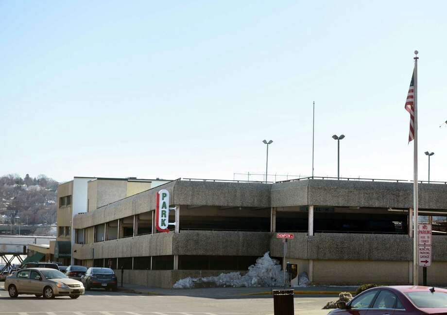 Last week, the Derby Board of Aldermen voted to close the 40-year-old municipal parking garage, pending an engineer;s study to see whether the structure is safe. On Monday, downtown parkers will be able to take a shuttle from the municipal lot near Calvert Locksmith's to City Hall, the Senior Citizen Center, TEAM and Superior Court. Photo: Autumn Driscoll / Connecticut Post