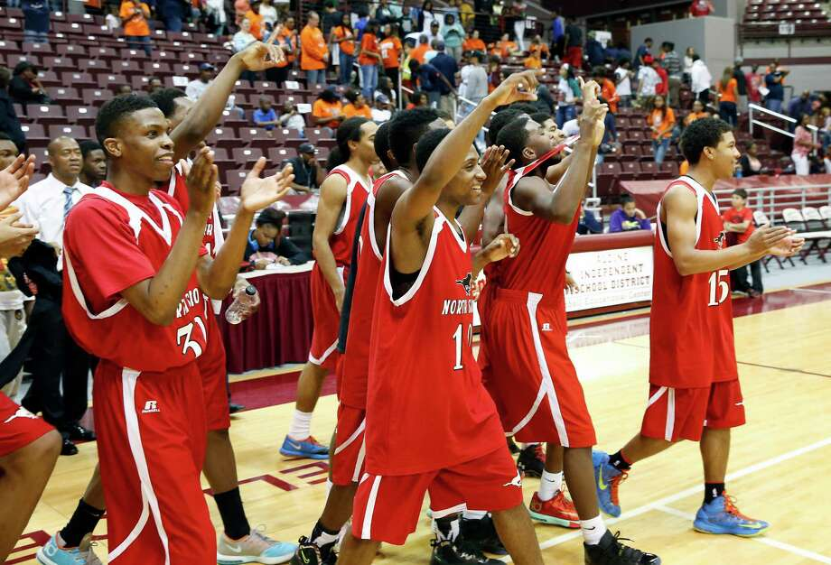 Campbell Center, 1865 Aldine Bender Road, Boys 5A Region III boys basketball final between the Northshore Mustangs and Ft. Bend Bush Broncos. The Northshore Mustangs won the hard-fought, physical game 58-60 and advances to state.
