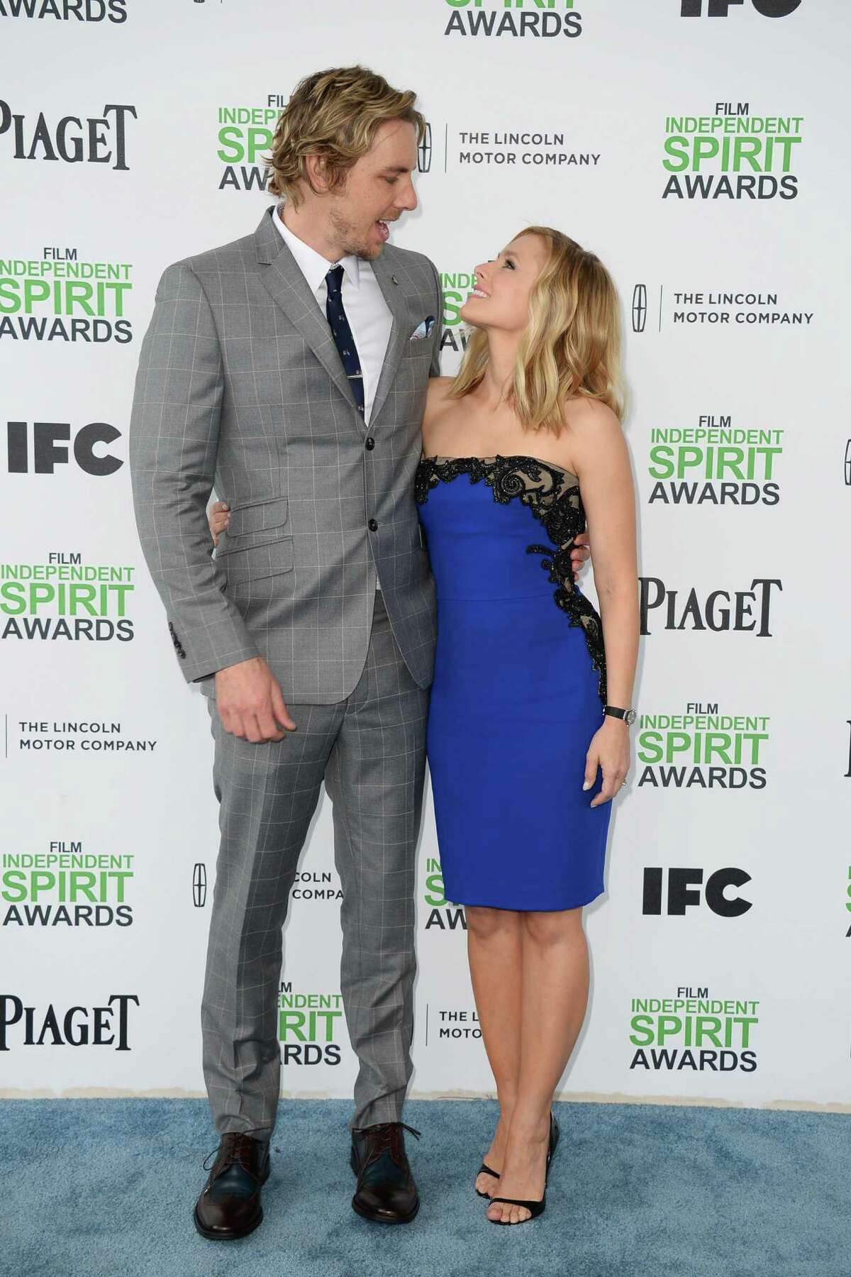 Dax Shepard, left, and Kristen Bell arrive.