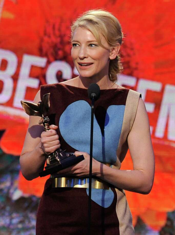 "Cate Blanchett accepts the award for best female lead for ""Blue Jasmine"" on stage. Photo: Chris Pizzello, Chris Pizzello/Invision/AP / Invision"