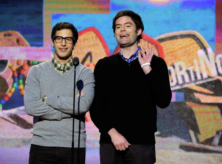 Andy Samberg, left, and Bill Hader speak on stage. Photo: Chris Pizzello, Chris Pizzello/Invision/AP / Invision