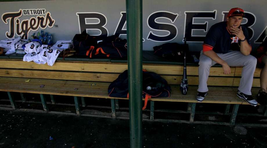 George Springer in the dugout before a spring training game between Astros and the Tigers. Photo: Karen Warren, Houston Chronicle