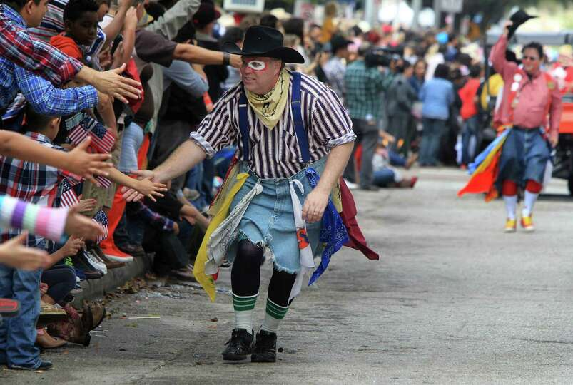 The Rodeo Clown Team are a hit with the crowd during the 76th Annual Houston Rodeo Parade on Saturda