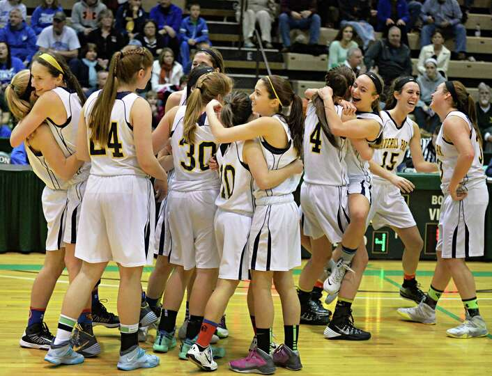 Averill Park players celebrate their win in  the Class A girls' s final against Queensbury Saturday