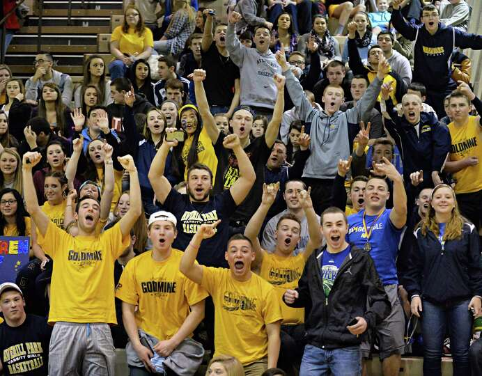 Averill Park fans cheer on their team during  the Class A girls' s final against Queensbury Saturday