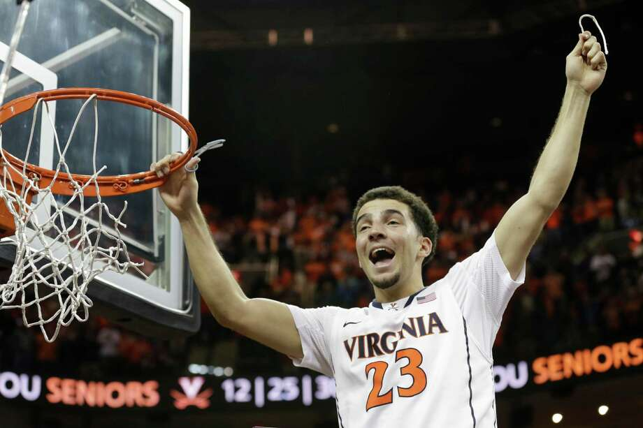 Virginia's London Perrantes was all smiles after the Cavaliers wrapped up the ACC regular-season title. Photo: Steve Helber, STF / AP