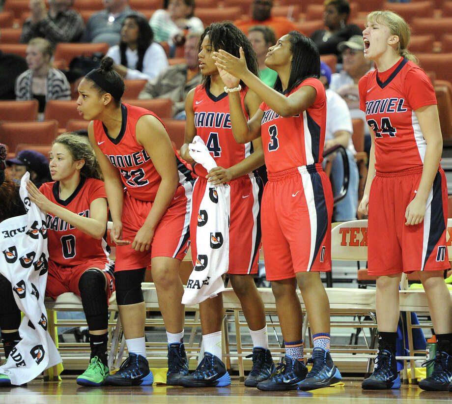 Manvel players react to a call during the UIL 5A state final girls basketball game between Manvel and Duncanville high schools on Sat., March 1, 2014 at the Frank Erwin Center in Austin, TX. Photo: Ashley Landis, Special Contributor / ©Ashley Landis