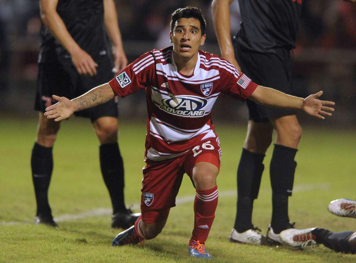 Danny Garcia of FC Dallas pleads for an official's call against his Scorpions' opponent during a soccer friendly at Toyota Field Saturday, March 1, 2014.