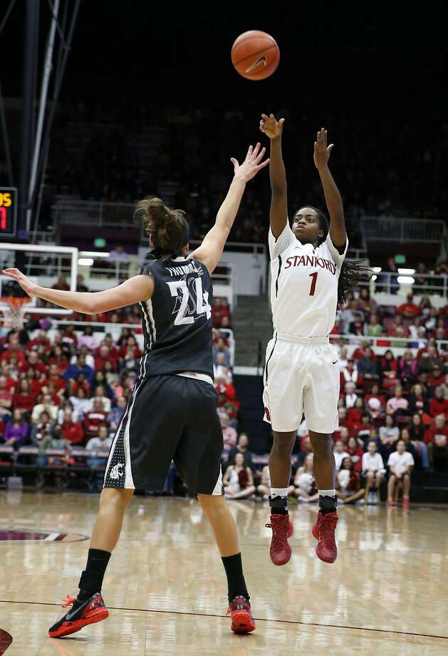 Guard Lili Thompson hits an outside jumper in the first half, when Stanford led by as many as 15. Photo: Robert Stanton, Reuters
