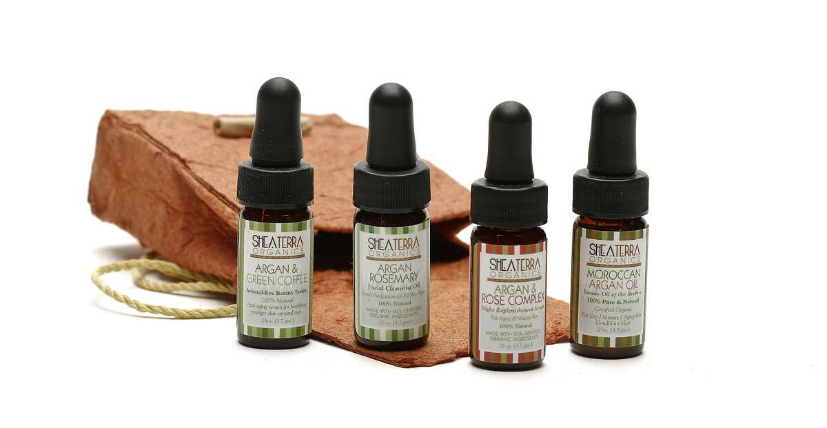Shea Terra Organics oils from left are Argan and Green Coffee, Argan Rosemary, Argan and Rose Complex, and Moroccan Argan Oil.