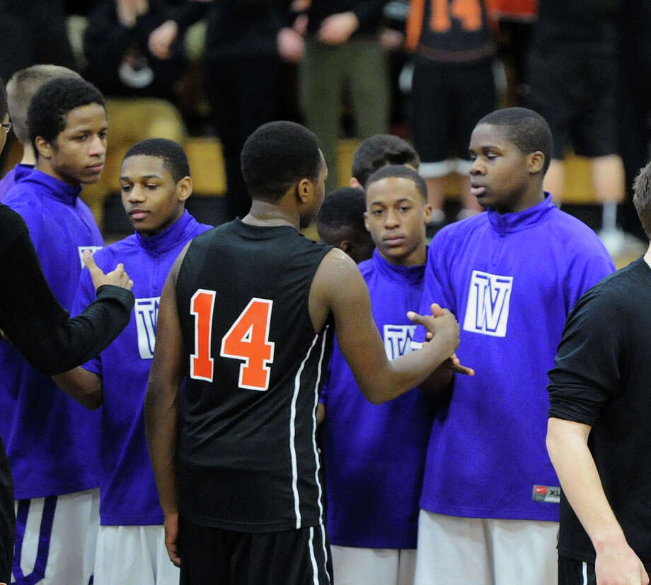 FCIAC Boys Basketball Quarterfinal game between Stamford High School and Westhill High School at Fairfield Ludlowe High School, Fairfield, Conn., Saturday, March 1, 2014. Stamford defeated Westhill 55-54 to advance. Photo: Bob Luckey / Greenwich Time