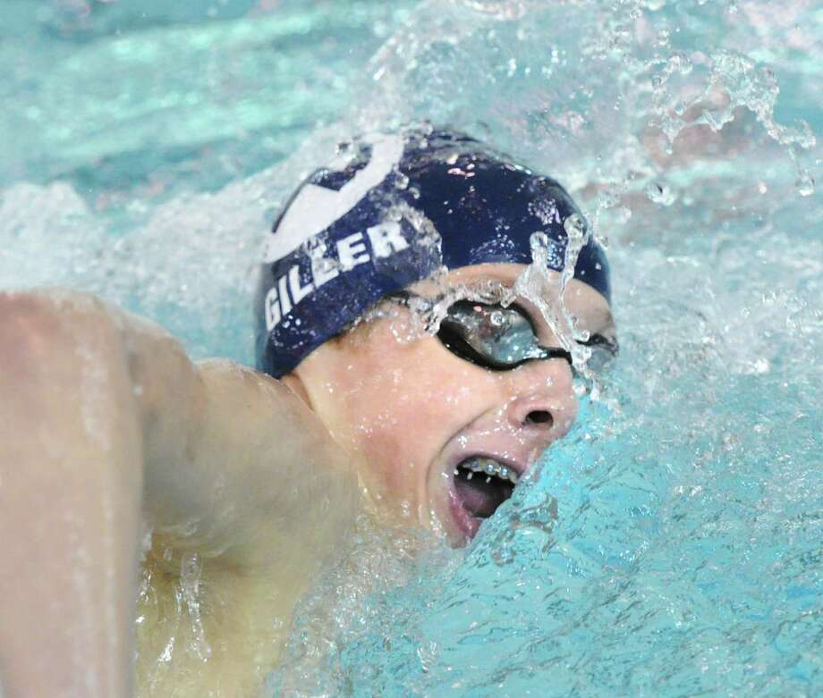 Robby Giller of Wilton competes in the 500 freestyle event during the FCIAC Boys Swimming Championships at Greenwich High School, Thursday night, Feb. 27, 2014. Photo: Bob Luckey / Greenwich Time