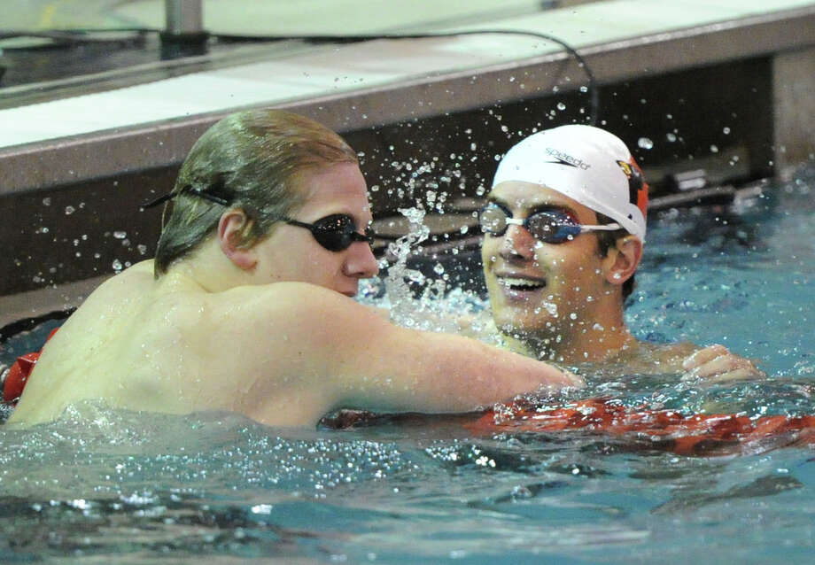 FCIAC Boys Swimming Championships at Greenwich High School, Thursday night, Feb. 27, 2014. Photo: Bob Luckey / Greenwich Time