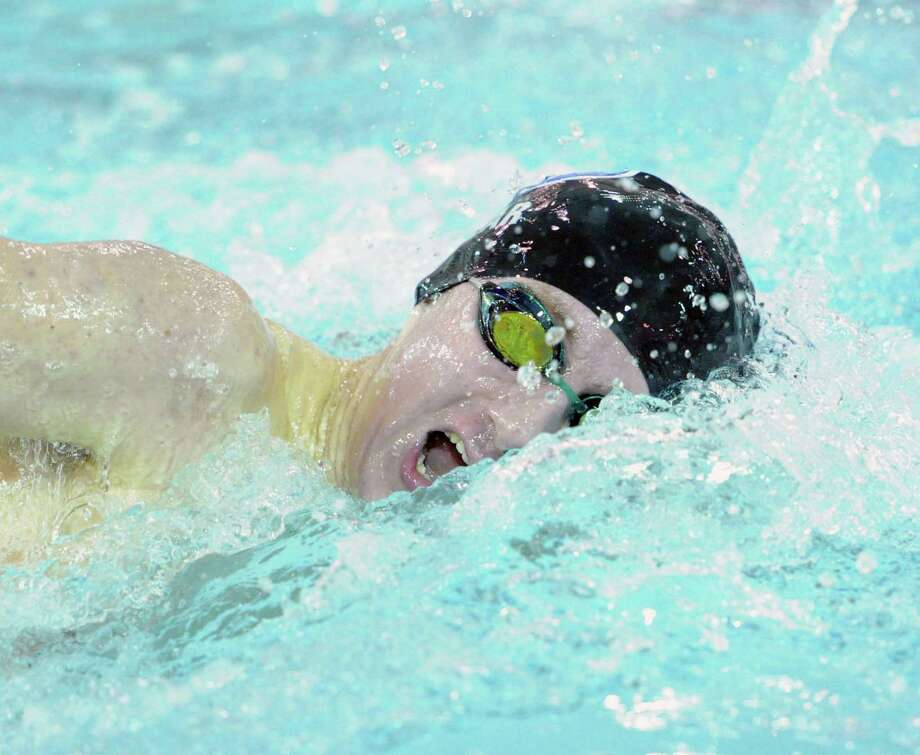 Zac Pear of Darien competes in the 500 freestyle event during the FCIAC Boys Swimming Championships at Greenwich High School, Thursday night, Feb. 27, 2014. Photo: Bob Luckey / Greenwich Time