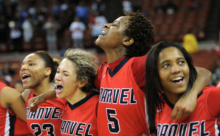 Manvel 58, Duncanville 53Manvel celebrates a 58-53 win over Duncanville during the UIL 5A state final girls basketball game between Manvel and Duncanville high schools on Sat., March 1, 2014 at the Frank Erwin Center in Austin, TX. Photo: Ashley Landis, Special Contributor / ©Ashley Landis