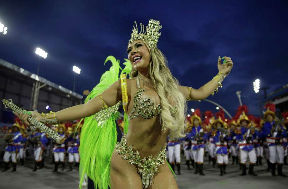 A dancer from the Academicos do Tatuape samba school performs during a carnival parade in Sao Paulo, Brazil, Sunday, March 2, 2014. Photo: Andre Penner, AP / AP