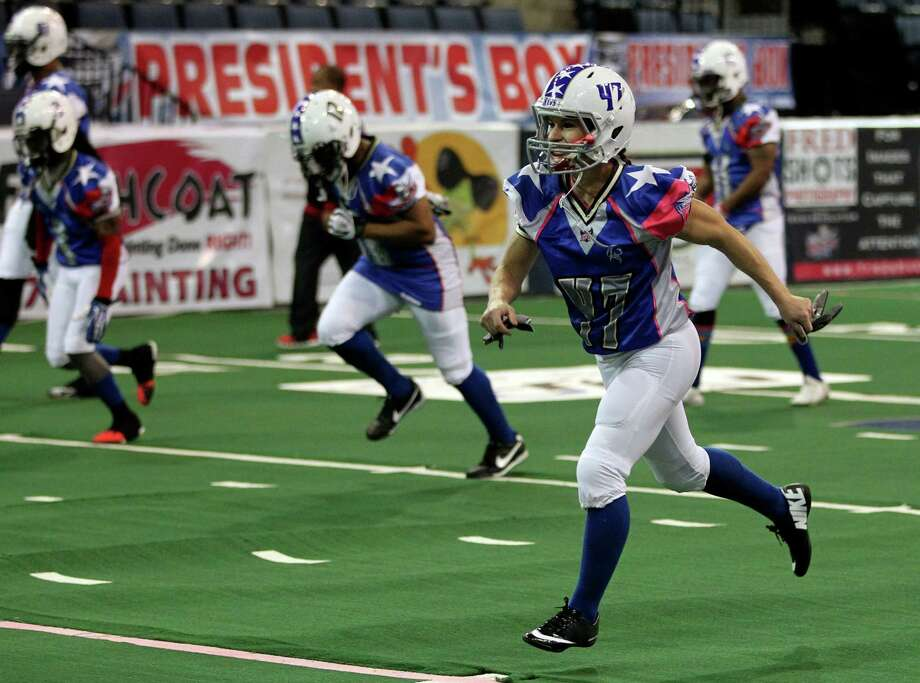 Texas Revolution's Jennifer Welter (47) runs during warmups before an Indoor Football League game against the North Texas Crunch on Saturday, Feb. 15, 2014, in Allen, Texas. (AP Photo/The Dallas Morning News, Vernon Bryant) MANDATORY CREDIT; MAGS OUT; TV OUT; INTERNET USE BY AP MEMBERS ONLY; NO SALES Photo: Vernon Bryant, Associated Press / TThe Dallas Morning News