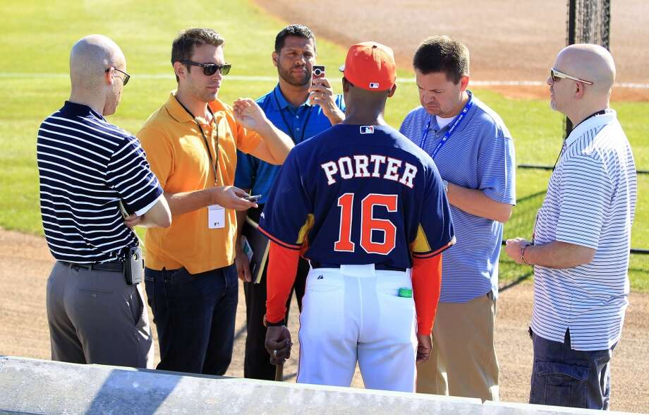 Astros manager Bo Porter speaks to the media at the Osceola County Stadium. Photo: Karen Warren, Houston Chronicle