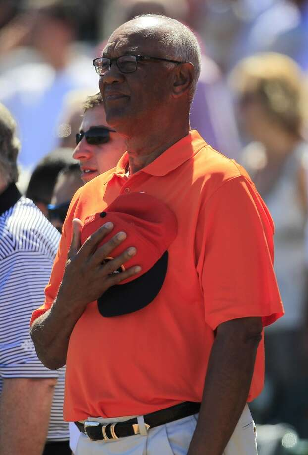 Former Astro Enos Cabell stands during the National Anthem. Photo: Karen Warren, Houston Chronicle