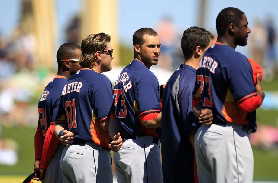George Springer (79) during the National Anthem. Photo: Karen Warren, Houston Chronicle