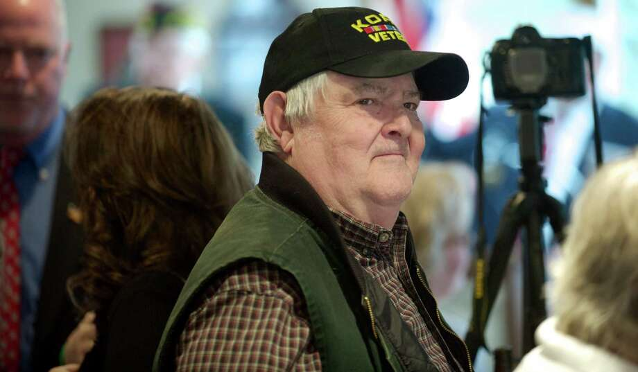 Korean War veteran George Lockwood, of Newtown, during the Newtown, Conn, Veterans of Foreign War (VFW) Post 308 celebration of its 75th Anniversary on Sunday, March 2, 2014. Lockwood served in the Army during the Korean War and is the oldest member of VFW Post 308. Photo: H John Voorhees III / The News-Times Freelance