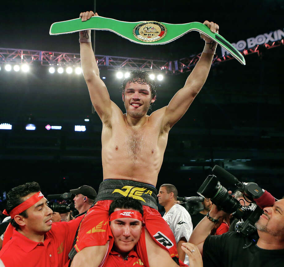 Julio Cesar Chavez, Jr. celebrates after his WBC Continental Americas Super Middleweight Title bout against Bryan Vera Saturday March 1, 2014 at the Alamodome. Chavez won by unanimous decision. Photo: Edward A. Ornelas, San Antonio Express-News / © 2014 San Antonio Express-News
