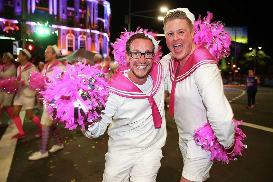 Parade goers march during the 2014 Sydney Gay & Lesbian Mardi Gras Parade on March 1, 2014 in Sydney, Australia. The Sydney Mardi Gras parade began in 1978 as a march and commemoration of the 1969 Stonewall Riots of New York. It is an annual event promoting awareness of gay, lesbian, bisexual and transgender issues and themes. Photo: Brendon Thorne, Getty Images / 2014 Getty Images