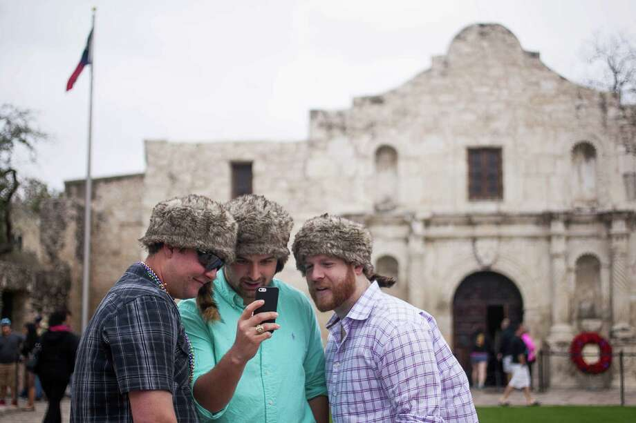 (From left) Sam Long, Tanner Roberts and Christopher Pennington traveled from Houston to spend Texas Independence day in San Antonio Sunday March 2, 2014. Photo: Julysa Sosa / Julysa Sosa/ San Antonio Express-News