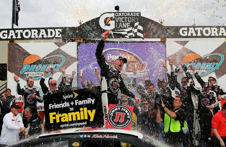 Driver Kevin Harvick celebrates after winning The Profit on CNBC 500 at Phoenix International Raceway. Photo: Jerry Markland, Getty Images