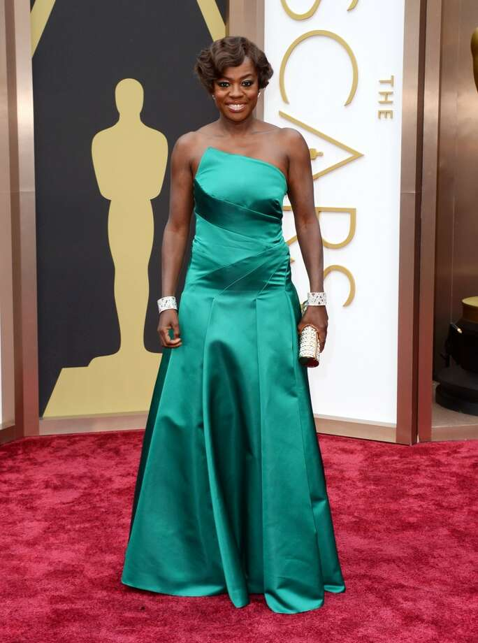 Viola Davis arrives at the Oscars on Sunday, March 2, 2014, at the Dolby Theatre in Los Angeles. Photo: Jordan Strauss, Associated Press