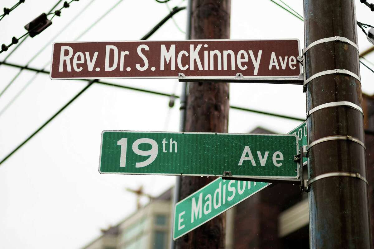 A view of the Rev. Dr. S. McKinney Avenue honorary street sign Sunday, March 2, 2014, at Mt. Zion Baptist Church in Seattle. A portion of 19th Avenue will now be known as Rev. Dr. S. McKinney Ave.