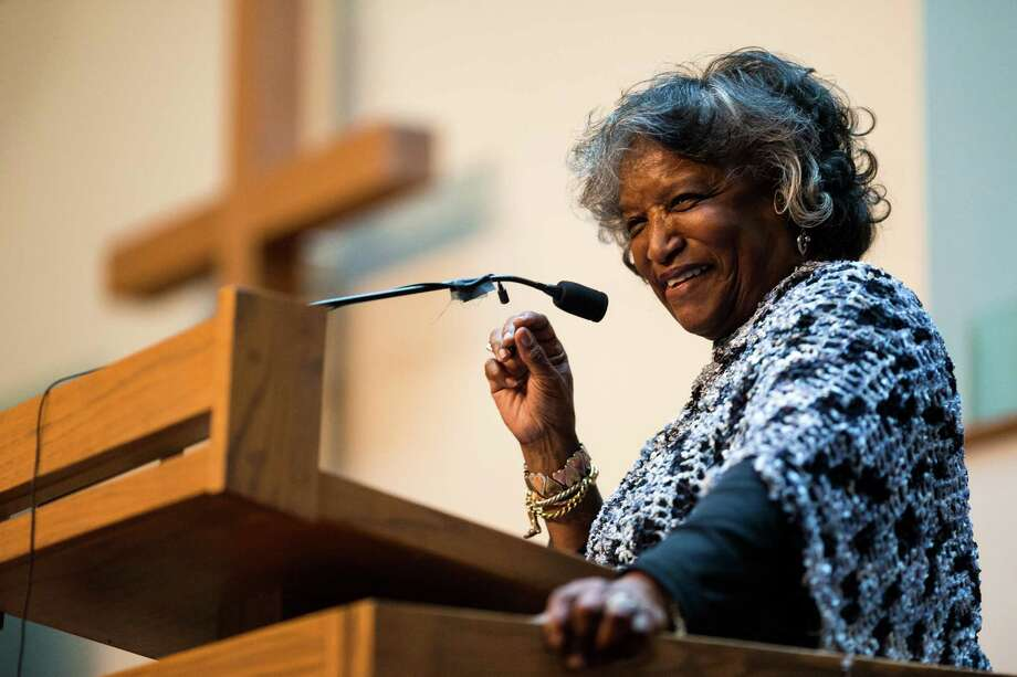 Rev. LaVerne C. Hall addresses the church during a ceremony to unveil the Rev. Dr. S. McKinney Avenue honorary street sign Sunday, March 2, 2014, at Mt. Zion Baptist Church in Seattle. A portion of 19th Avenue will now be known as Rev. Dr. S. McKinney Ave. Photo: JORDAN STEAD, SEATTLEPI.COM / SEATTLEPI.COM