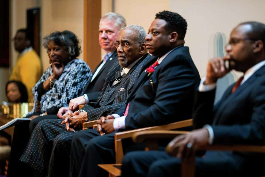 Living legend and leader in the movement for human rights, Rev. Dr. Samuel B. McKinney, third from right, sits amongst community leaders and activists during a ceremony to unveil the ÒRev. Dr. S. McKinney AvenueÓ honorary street sign Sunday, March 2, 2014, at Mt. Zion Baptist Church in Seattle. A portion of 19th Avenue will now be known as Rev. Dr. S. McKinney Ave. Photo: JORDAN STEAD, SEATTLEPI.COM / SEATTLEPI.COM
