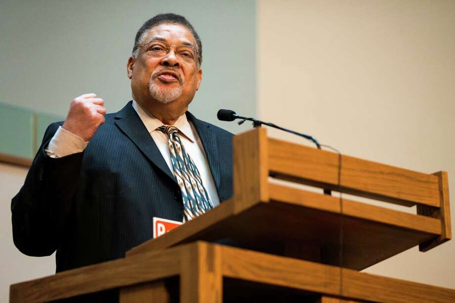 Co-publisher and editor of The Seattle Medium Newspaper, Chris B. Bennett, addresses the church during a ceremony to unveil the Rev. Dr. S. McKinney Avenue honorary street sign Sunday, March 2, 2014, at Mt. Zion Baptist Church in Seattle. A portion of 19th Avenue will now be known as Rev. Dr. S. McKinney Ave. Photo: JORDAN STEAD, SEATTLEPI.COM / SEATTLEPI.COM